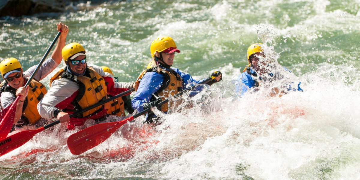 Rafters navigate large rapids on the Middle Fork early in the season