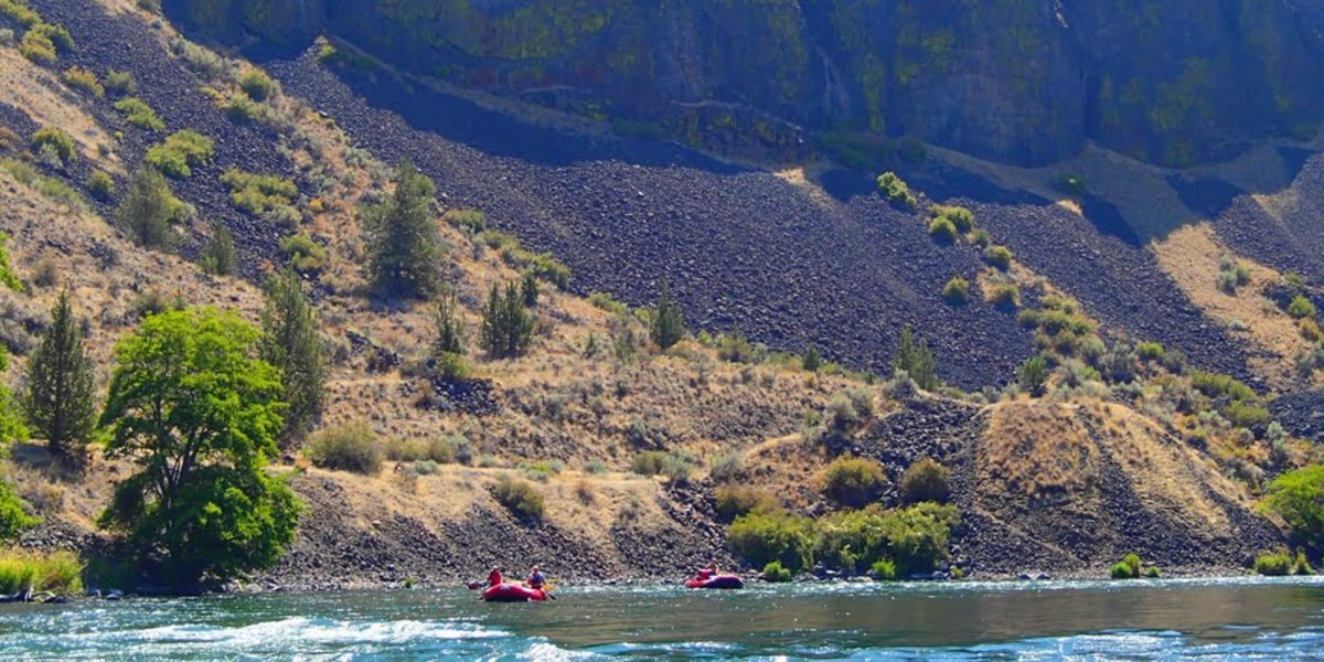 steep slope on the shore of the Deschutes River