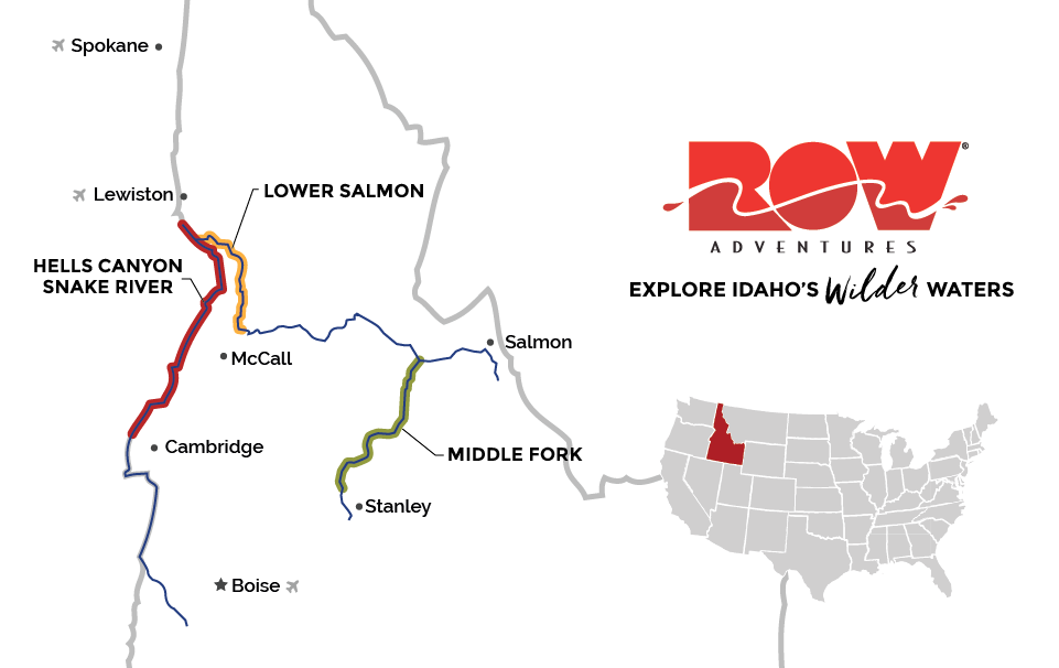 Idaho River Rafting Map