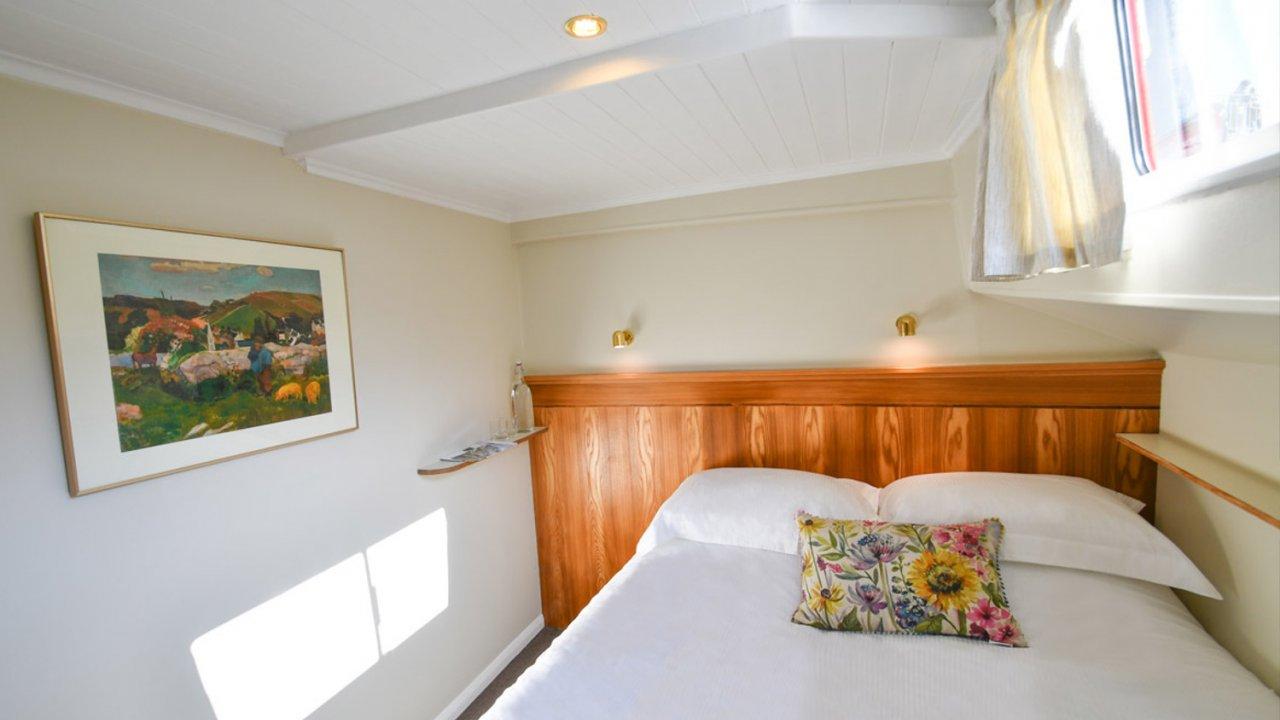 inside cabin on hotel barge