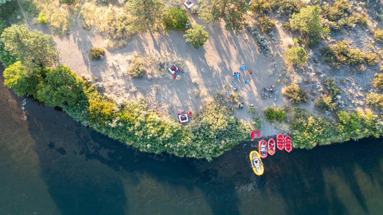 aerial view of rafting camp along the Deschutes river