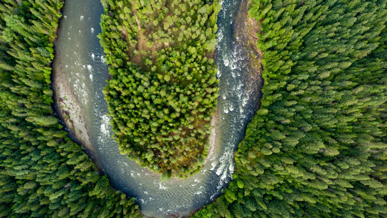 aerial view of Moyie River in Idaho