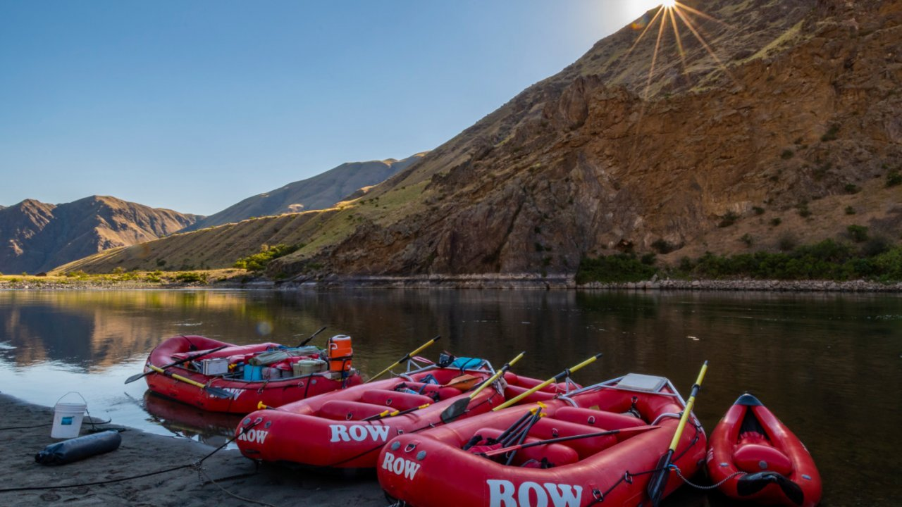 red rafts on snake river