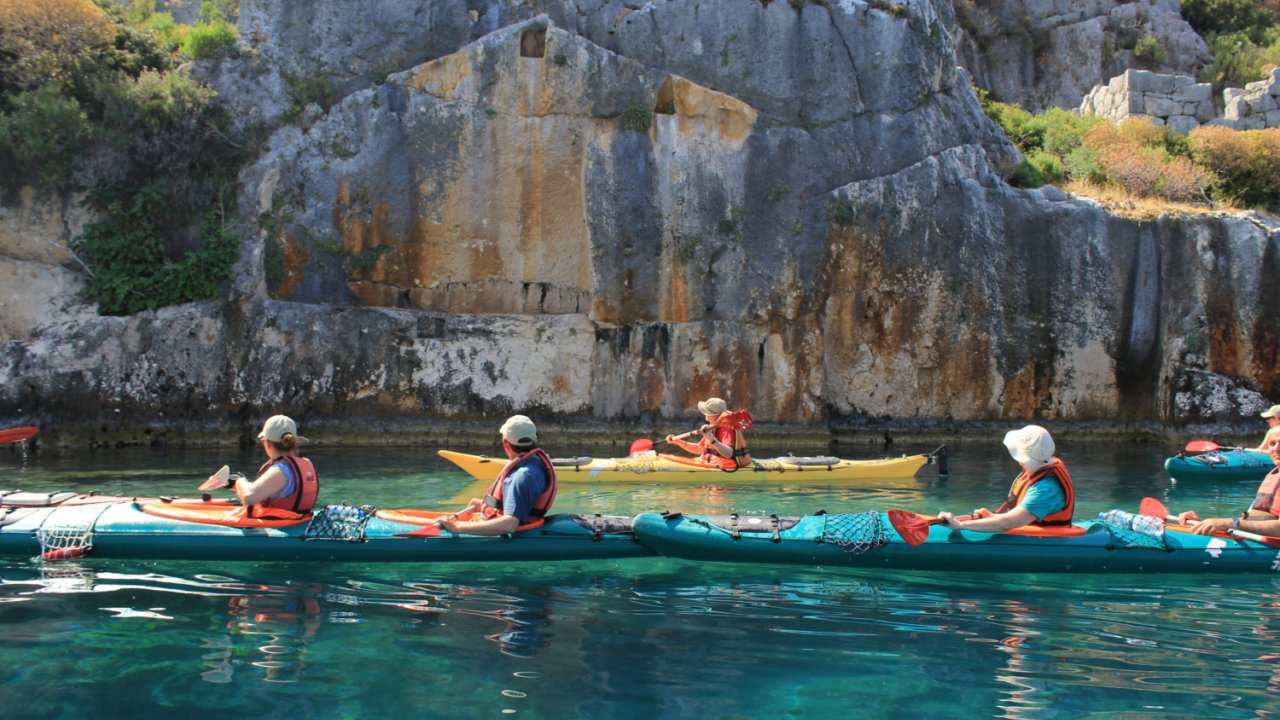 kayaking from a yacht in turkey