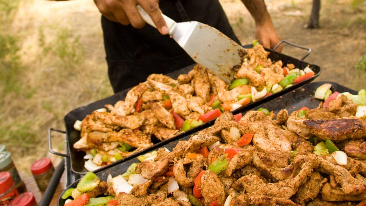 fajitas cooking in the backcountry