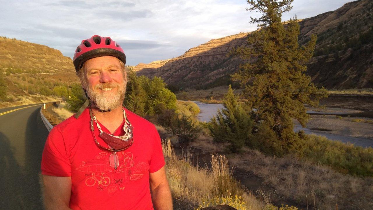 man on biking tour near maupin oregon