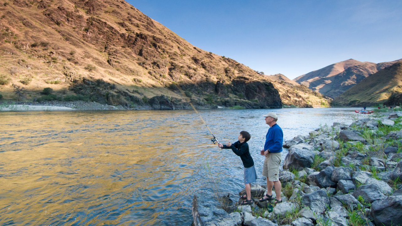 father and son flyfishing