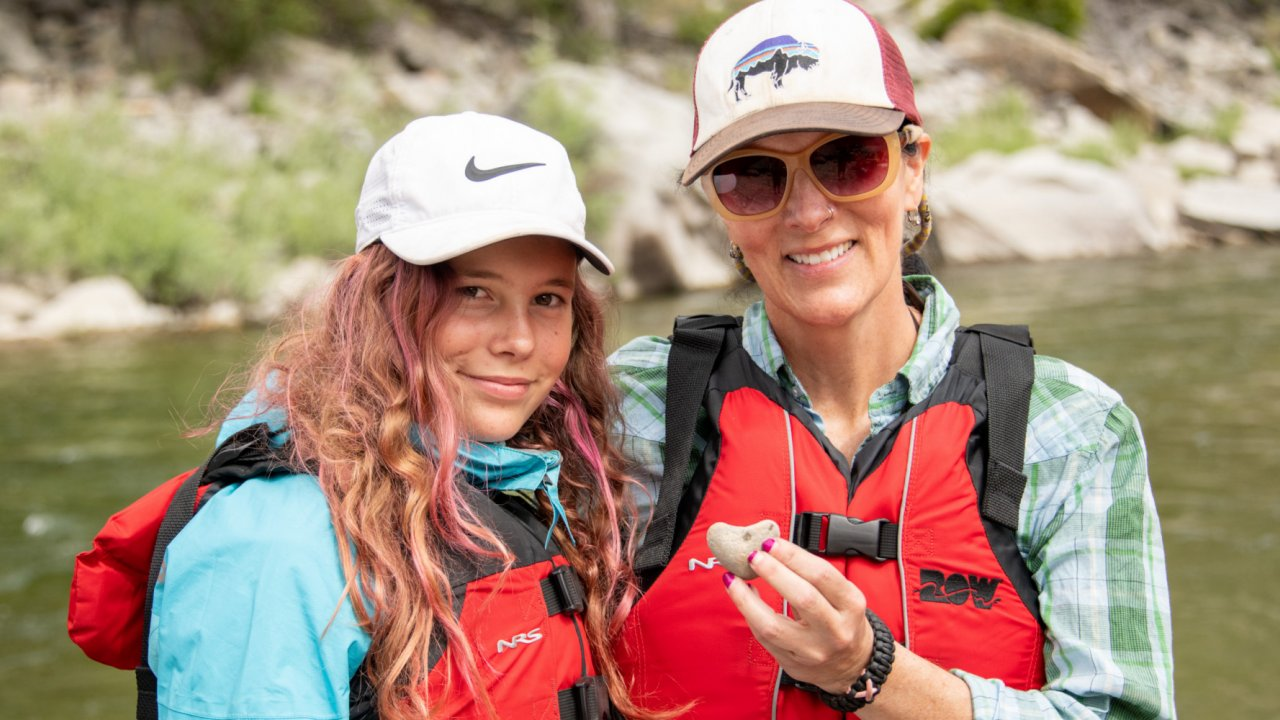 mom and daughter on rafting trip