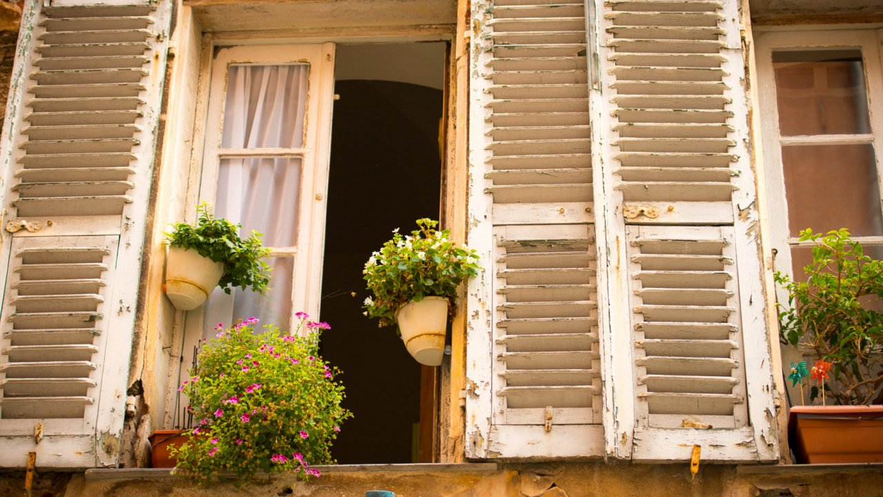 charming architecture, windows in Corsica France