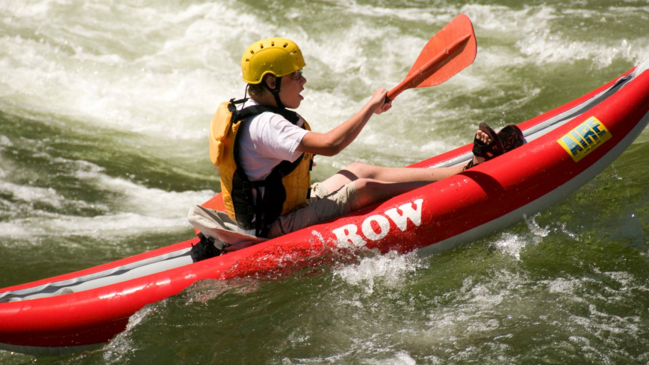 inflatable kayak on the Grande Ronde River
