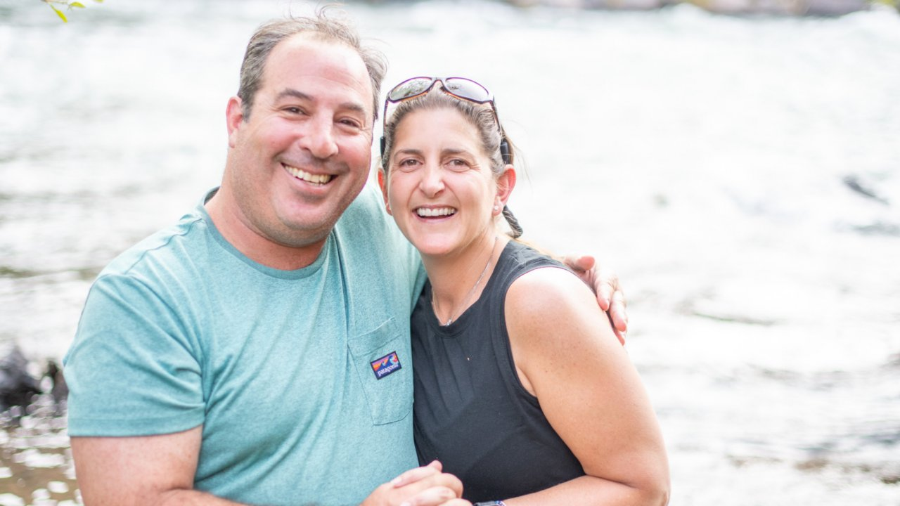 couple on whitewater rafting trip