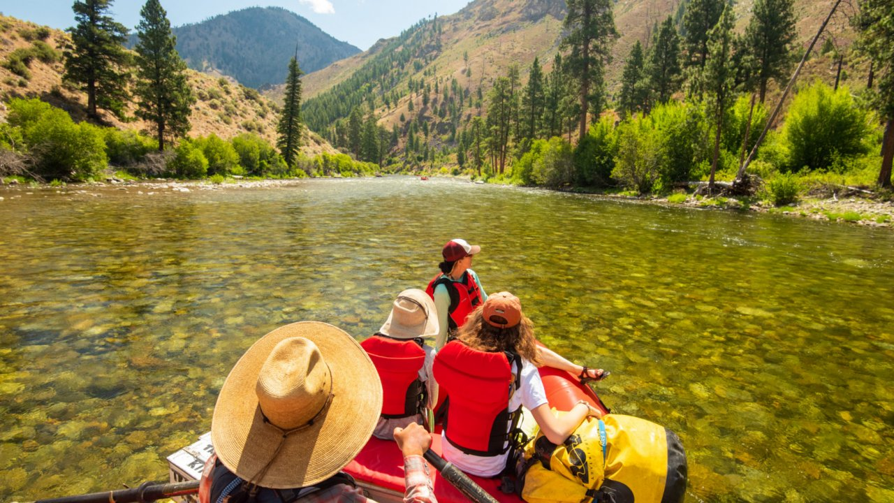 raft floating down the salmon river