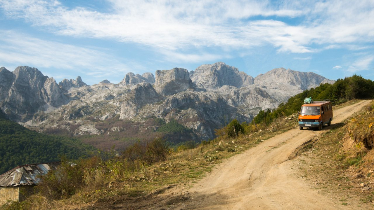 road in the albanian alps