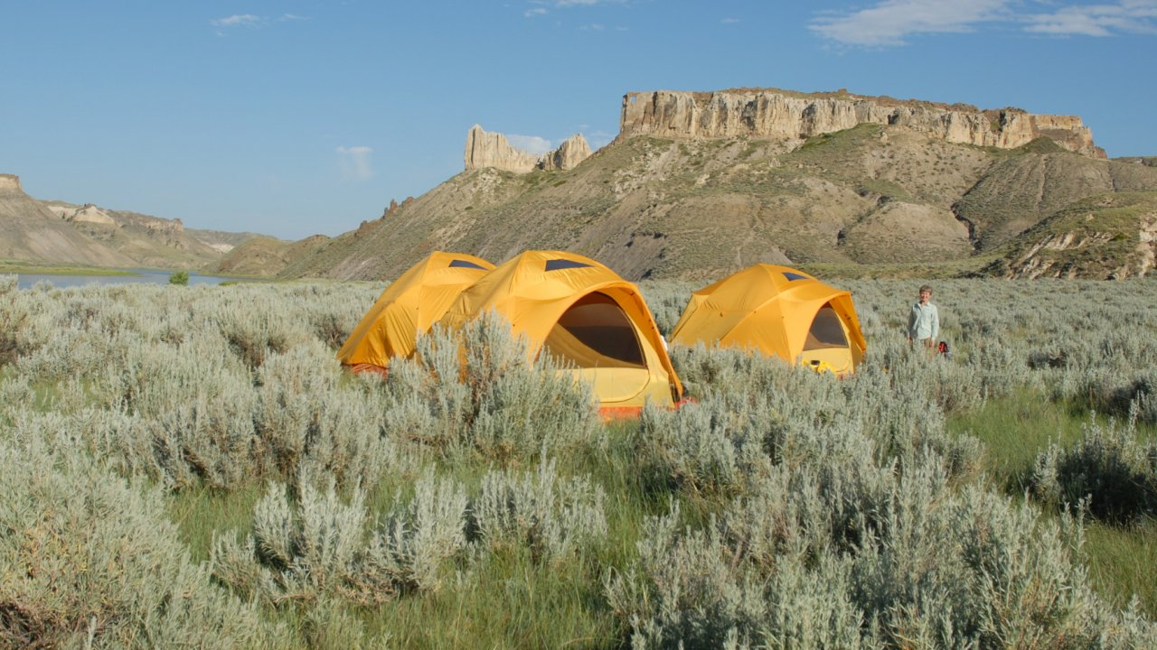 tents along the missouri river in montana