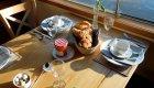 breakfast served onboard barge in France