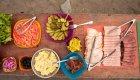 lunch spread on ROW rafting trip in Idaho