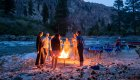 campfire at rafting camp on the salmon river