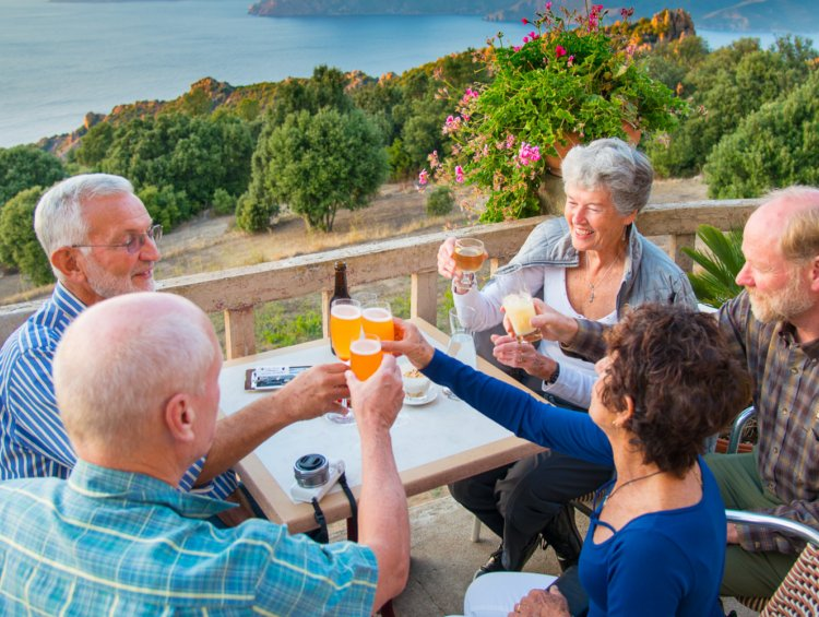 group toasting at a table in Corsica France