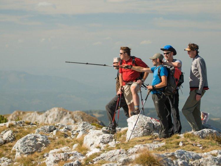 group hiking in albania