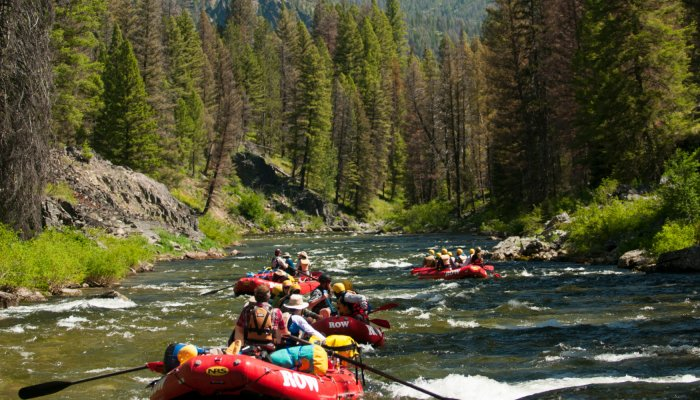 group rafting the middle fork of the salmon river in Idaho
