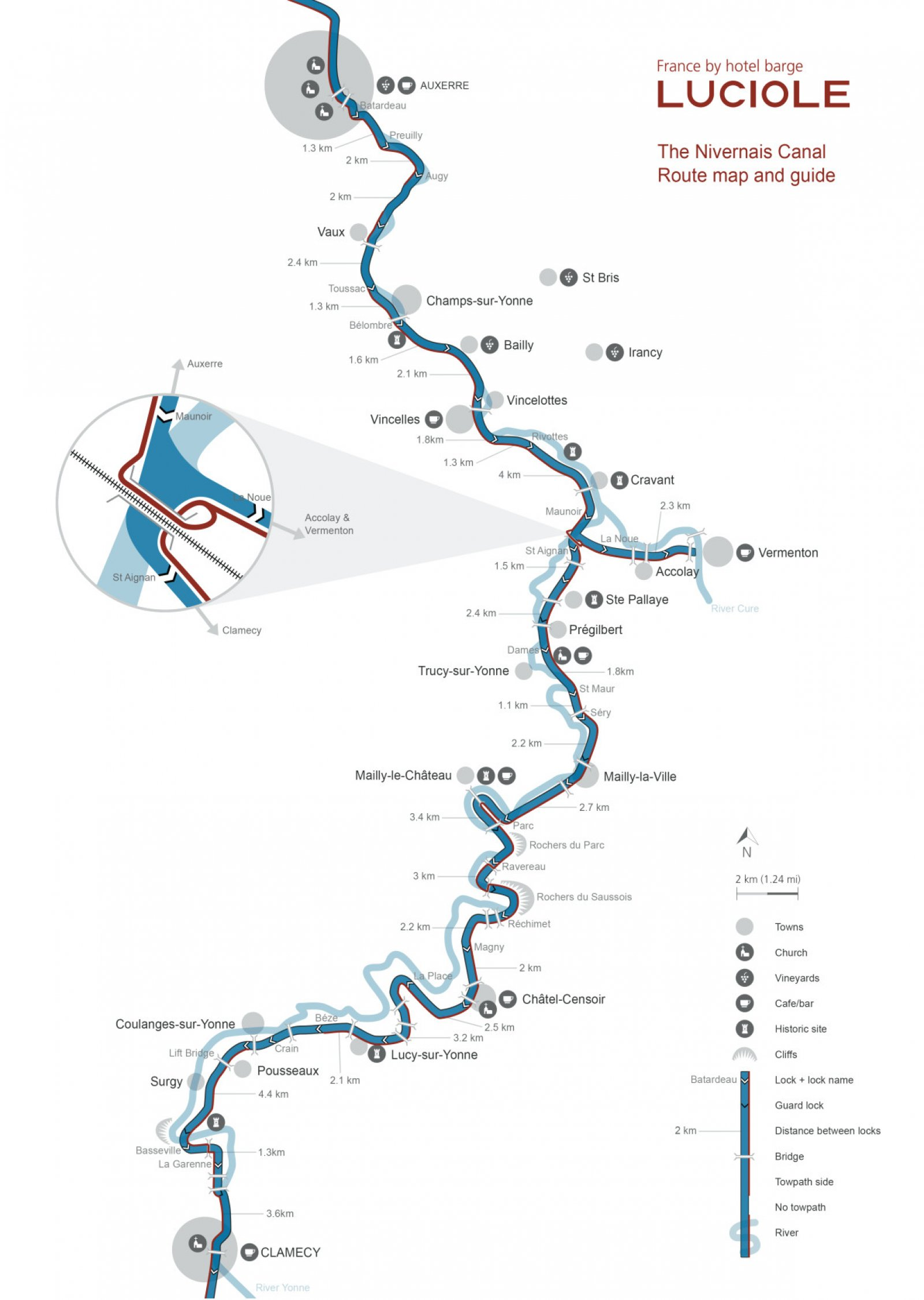map of the barge luciole route