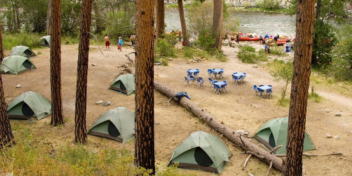 ROW Adventures' riverside camp on the Middle Fork of the Salmon River